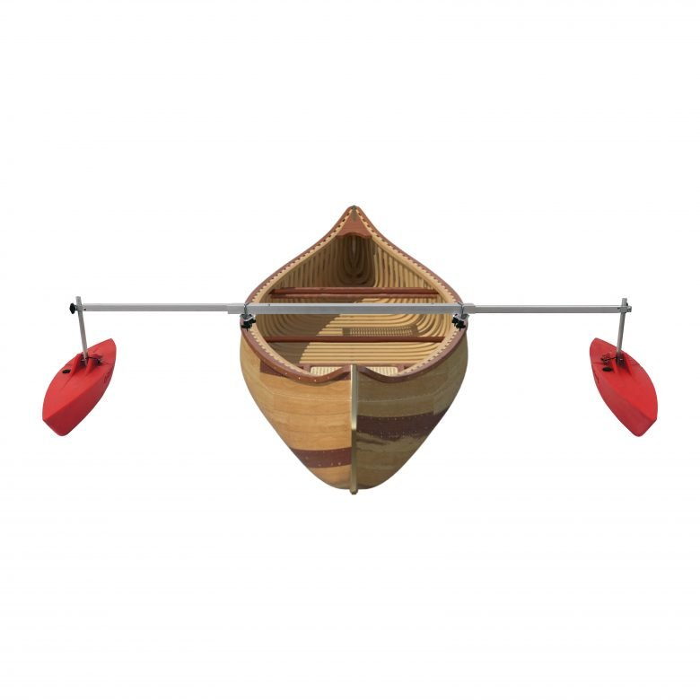 """Bold Ivy Canoe Stabilizer Set - 36"""" - Extended with Canoe - Red"""