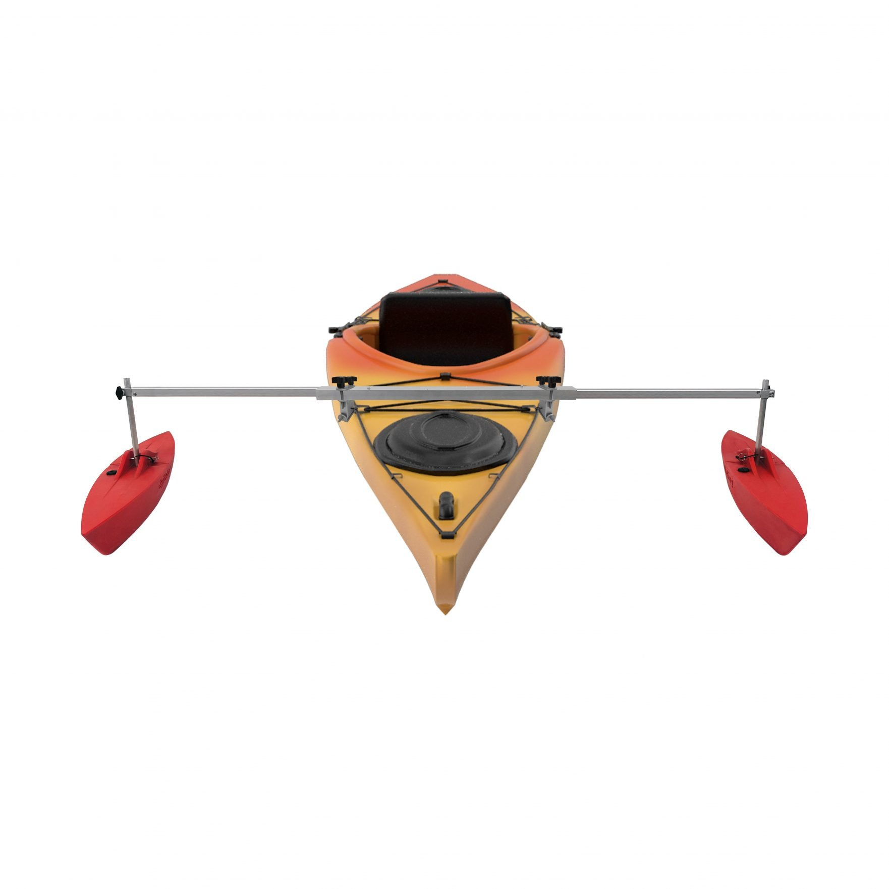 """Bold Ivy Kayak Stabilizer Set - 30"""" - Extended with Kayak - Red"""